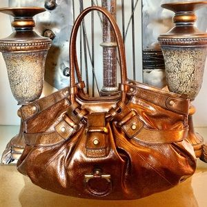Salvatore Ferragamo Copper Patent Leather Hobo Bag